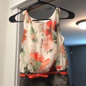 Floral top, pencil skirt bottom, dress